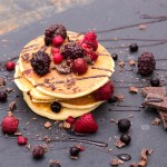 Pancake with fruits and chocolate